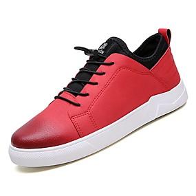 baratos Tênis Masculino-Homens Sapatos Confortáveis Couro Ecológico Outono Tênis Preto / Cinzento / Vermelho