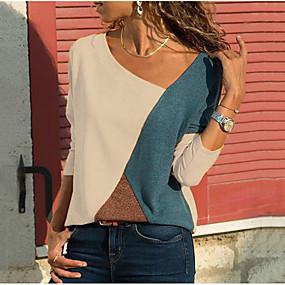 billige Happy Mother's Day-V-hals Store størrelser T-skjorte Dame - Fargeblokk Grunnleggende Hvit