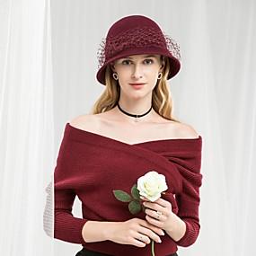 povoljno Kentucky Derby Hat-100% vuna Kentucky Derby Hat / kape s Jedna boja / Volani 1pc Kauzalni / Dnevni Nosite Glava