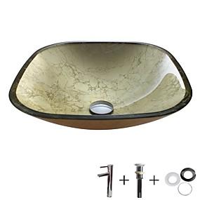 abordables Eviers-Lavabo de Salle de Bain / Robinet de Salle de Bain / Bague de Fixation de Salle de Bain contemporain - Verre Trempé Rond Vessel Sink