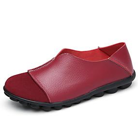 olcso Női topánkák és vászoncipők-Női Bőr Tavaszi nyár Alkalmi Papucsok & Balerinacipők Lapos Kerek orrú Sárga / Fukszia / Bor / Színes