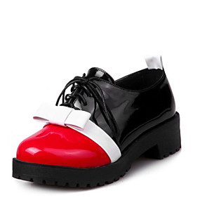 15b00c4953 Women's Patent Leather / PU(Polyurethane) Spring & Fall Oxfords Low Heel  Round Toe Bowknot Black / Red / Color Block