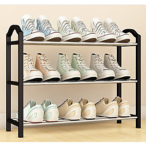 baratos Sapateiras & Cabides de Sapato-Sapateiras & Cabides PVC 3 Níveis Unisexo Preto