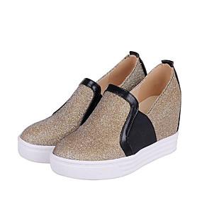 voordelige Damesinstappers & loafers-Dames PU Lente Loafers & Slip-Ons Sleehak Goud / Zwart / Zilver