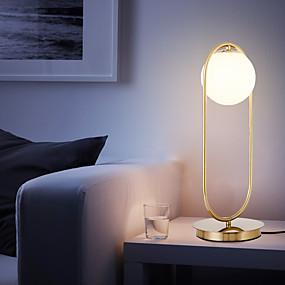 hesapli Masa Lambaları-İskandinav basit masa lambası cam yuvarlak top masa lambası metal braketi ışık yatak odası çalışma odası ofis için metal