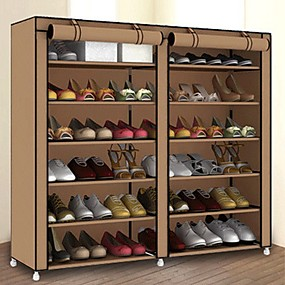 baratos Sapateiras & Cabides de Sapato-Sapateiras & Cabides Tecidos não Tecelados 36 pares Unisexo Vermelho / Cinza Escuro / fúcsia