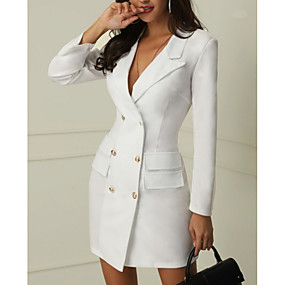 cheap -70%-Women's Work Sexy Mini Slim Sheath Dress - Solid Colored Deep V White Black L XL XXL