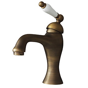 billige Ugentlige tilbud-Baderom Sink Tappekran - Roterbar Antikk Messing Centersat Et Hull / Enkelt Håndtak Et HullBath Taps