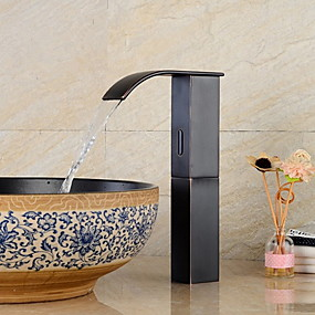 cheap Induction Faucets-Faucet Set - Sensor / New Design Black Free Standing Hands free One HoleBath Taps