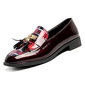 voordelige Damesinstappers & loafers-Dames PU Lente Informeel Loafers & Slip-Ons Lage hak Wit / Rood