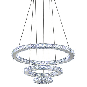 cheap Pendant Lights-Circular Chandelier Ambient Light Electroplated Metal Crystal, LED 110-120V / 220-240V Cold White LED Light Source Included / LED Integrated