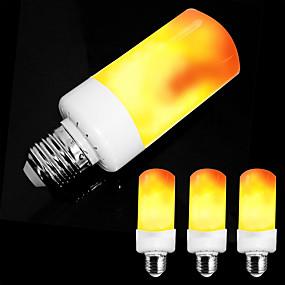 billige Globepærer med LED-zdm 4pcs e26 e27 / e14 5w ledet flameffekt lyspære-4 moduser med opp ned ned effekt ac85-265v