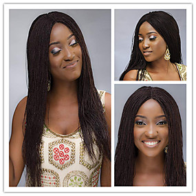 billige Braid Style Lace Wigs-Remy Menneskehår Helblonde Parykk Asymmetrisk frisyre Rihanna stil Brasiliansk hår Afro Kinky Jerry Krølle Naturlig Svart Parykk 180% Hair Tetthet Myk Dame Naturlig Naturlig hårlinje Afrikanske