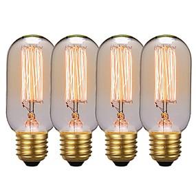 billige Glødelampe-GMY® 4stk 40 W E26 / E27 T45 Ravgult 2200 k Kontor / Bedrift / Mulighet for demping / Dekorativ Glødende Vintage Edison lyspære 220-240 V
