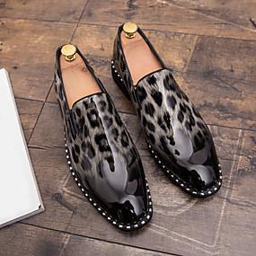 baratos Sapatilhas e Mocassins Masculinos-Homens Sapatos Confortáveis Couro Envernizado Primavera Casual Mocassins e Slip-Ons Respirável Leopardo Branco / Vermelho / Azul