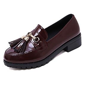 voordelige Damesinstappers & loafers-Dames Loafers & Slip-Ons Lage hak Kwastje Lakleer Informeel Lente Zwart / Bordeaux / Dagelijks