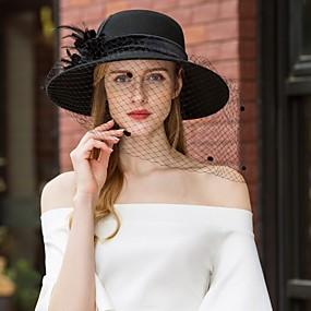 povoljno Kentucky Derby Hat-100% vuna Kentucky Derby Hat / kape s Štras / Perje 1pc Kauzalni / Dnevni Nosite Glava
