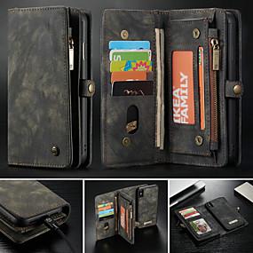 voordelige Telefoons en accessoires-hoesje voor apple iphone xr xs xs max portemonnee kaarthouder met standaard gevallen effen gekleurde harde pu leer voor iphone x 8 8 plus 7 7 plus 6s 6s plus se 5 5s