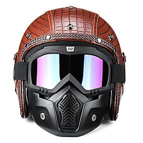 povoljno Motorističke maske za lice-3/4 otvorena maska za kosu s motorom s kožom i čašama za harley