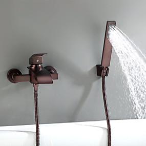 ราคาถูก ของประดับบ้าน-ก๊อกอ่างอาบน้ำ / Tub Faucets - ของโบราณ ทองแดงขัดน้ำมัน ติดผนัง Ceramic Valve Bath Shower Mixer Taps