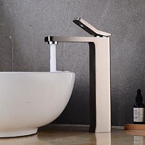 olcso Újdonságok-Fürdőszoba mosogató csaptelep - Széleskörű Nikkel bevonatos Három lyukas Egy fogantyú egy lyukkalBath Taps