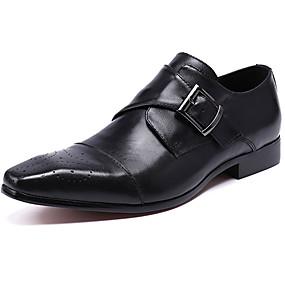 baratos Oxfords Masculinos-Homens Sapatos formais Pele Napa Primavera Negócio / Casual Oxfords Não escorregar Preto / Marron / Sapatos de couro / Sapatos de vestir