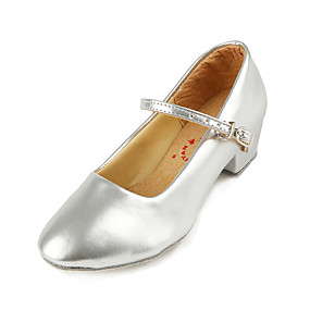 billige Moderne sko-Jente Moderne sko PU Høye hæler Tykk hæl Dansesko Sølv