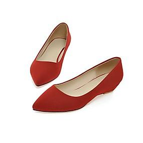 voordelige Damesschoenen met platte hak-Dames Platte schoenen Sleehak Suède Lente Beige / Rood / Groen