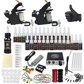 billige Tattoveringer, Body Art-DRAGONHAWK Tattoo Machine Startkit - 2 pcs tattoo maskiner med 1 x 30 ml / 28 x 5 ml tatovering blekk, Profesjonell, Verneutstyr, Enkel å installere Legering Mini strømforsyning No case 2 x legering
