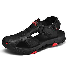 baratos Sandálias Masculinas-Homens Sapatos de couro Pele Napa Verão Esportivo / Casual Sandálias Aventura / Caminhada Respirável Preto / Marron / Khaki