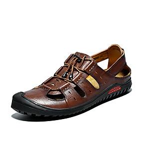 baratos Sandálias Masculinas-Homens Sapatos Confortáveis Pele Napa / Com Transparência Primavera Verão Casual Sandálias Respirável Preto / Amarelo / Castanho Escuro