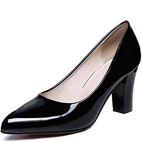 abordables Escarpins-Femme Cuir Verni Printemps Escarpins Talon Bottier Noir / Rouge / Amande