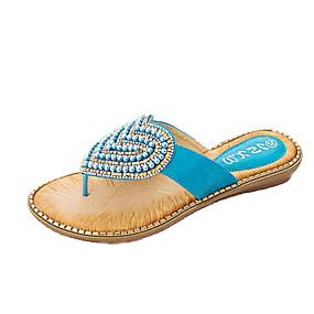 69974fd753fa Women s PU(Polyurethane) Summer Sweet Slippers   Flip-Flops Flat Heel Open  Toe Pearl Blue   Pink   Almond