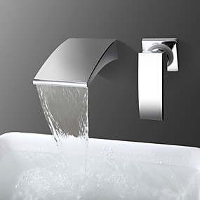 cheap Bathtub Faucets-Bathtub Faucet - Contemporary Chrome Wall Mounted Ceramic Valve Bath Shower Mixer Taps / Single Handle Two Holes
