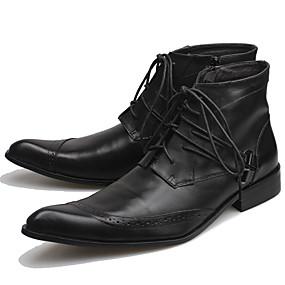 halpa Miesten saappaat-Miesten Fashion Boots Nappanahka Syksy / Syystalvi Klassinen / Vapaa-aika Bootsit Pidä lämpimänä Nilkkurit Musta