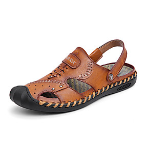 povoljno Muške sandale-Muškarci Kožne cipele Koža Ljeto Posao / Ležerne prilike Sandale Hodanje Prozračnost Crn / Braon / Žutomrk