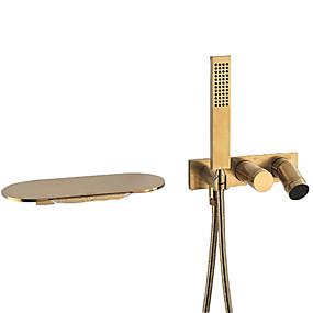 cheap Shower Faucets-Shower Faucet - Contemporary Chrome Wall Mounted Ceramic Valve Bath Shower Mixer Taps
