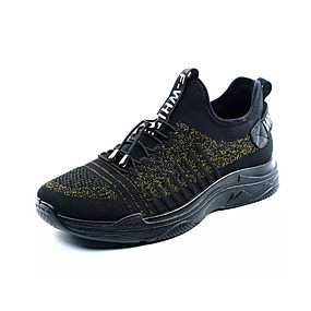 cheap Running Shoes-Men's Comfort Shoes Elastic Fabric / Tissage Volant Spring Sporty Athletic Shoes Running Shoes Non-slipping Color Block Black / Gold / Black / Silver