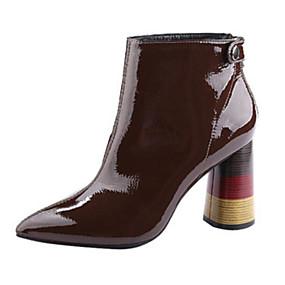 billige Mote Boots-Dame Lakklær Høst vinter Støvler Tykk hæl Ankelstøvler Svart / kaffe / Vin