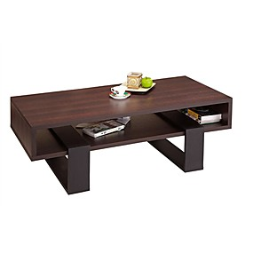 cheap Accent Furniture-Modern Coffee Table in Black and Walnut Brown Finish