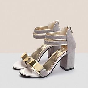 cheap Wedge Sandals-Women's Block Heel Sandals Nubuck leather Spring / Summer Club Shoes Sandals Chunky Heel Open Toe Metal Beige / Gray / Red