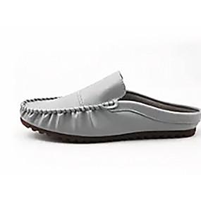 baratos Tamancos Masculinos-Homens Sapatos Confortáveis Couro Ecológico Primavera Casual Tamancos e Mules Respirável Preto / Branco / Cinzento
