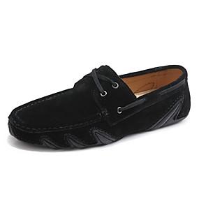 baratos Sapatos Náuticos Masculinos-Homens Mocassim Camurça Outono / Primavera Verão Casual / Formais Sapatos de Barco Caminhada Respirável Preto / Cinzento / Castanho Escuro