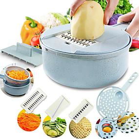 billige Frukt & Grønnsaks-verktøy-mandolin slicer grønnsaksslicer potet peeler gulrot løk gryter med silke grønnsakskutter 8 i 1 kjøkken tilbehør