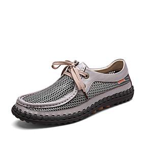 baratos Oxfords Masculinos-Homens Sapatos de couro Com Transparência / Pele Primavera Verão / Outono & inverno Negócio / Casual Oxfords Caminhada Não escorregar Cinzento / Khaki / Sapatos Confortáveis