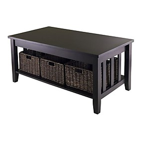 cheap Accent Furniture-Mission Style Dark Wood Coffee Table with 3-Folding Storage Baskets