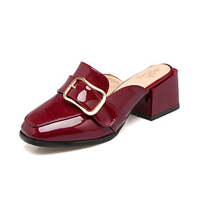 90d34fe4fe948 Women's PU(Polyurethane) Summer / Fall Vintage Clogs & Mules Chunky Heel  Square Toe White / Black / Wine