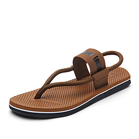 baratos Sandálias Masculinas-Homens Sapatos Confortáveis Lona Primavera Verão Sandálias Preto / Vermelho / Khaki / Ao ar livre
