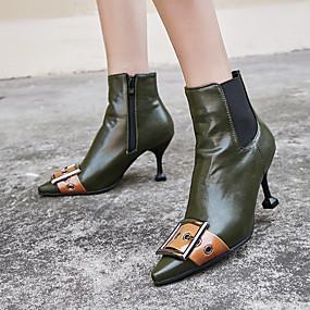 billige Mote Boots-Dame Støvler Fashion Boots Liten hæl Spisstå PU Støvletter Vintage / Britisk Høst vinter Svart / Grønn / Fest / aften