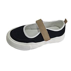 voordelige Damesschoenen met platte hak-Dames Platte schoenen Creepers Canvas Zomer Zwart